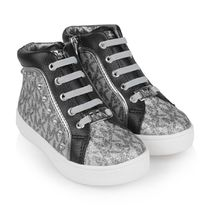 Silver & Black Ivy Gia High Top Trainers