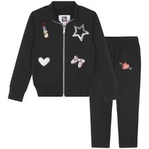 キッズスポーツウェア Black Sequin Applique Tracksuit
