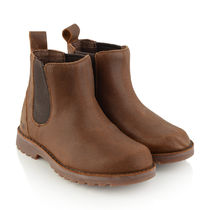 Boys Chocolate K Callum Water Resistant Leather Boots