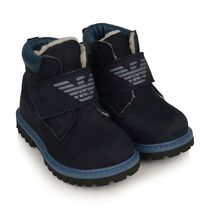 Boys Navy & Blue Suede Boots