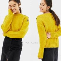 国内発送ASOS/New Look button neck jumper in bright yellow