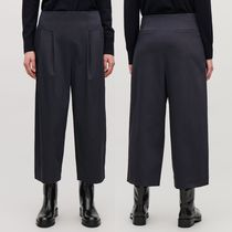 """""""COS"""" CROP COTTON PLEATED TROUSERS NAVY"""