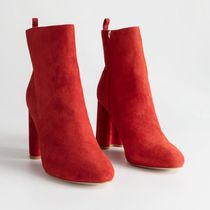 ★&Other Stories★Sculpted Heel Suede Boots★レッド★