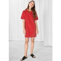 ★&Other Stories★Velour Striped T-Shirt Dress★レッド★