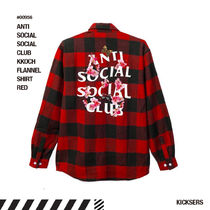 人気話題!ANTISOCIALSOCIALCLUB KKOCH FLANNEL SHIRT RED