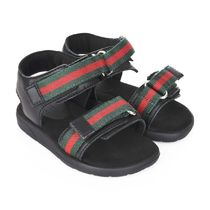 Black Sandals With Striped Velcro Straps