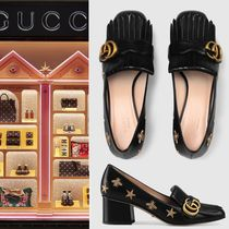 【VIP価格購入】GUCCI Embroidered leather mid-heel pump