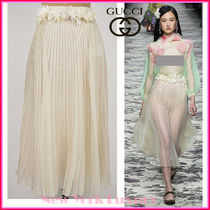 GUCCI★グッチ★素敵!IVORY SILK PLEATED FLORAL WAIST SKIRT