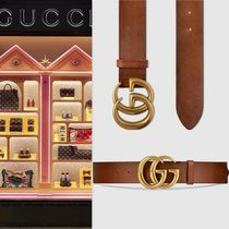 【VIP価格購入】GUCCI Leather belt with Double G buckle