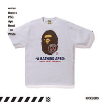 人気話題!Bape x PSG Pari Saint Germain Ape Head Tee White