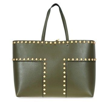【Tory Burch】A4収納☆Block-T Studded Leather Tote- Leccio