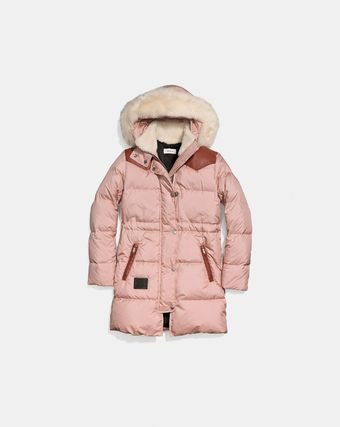 セール coach Shearling Puffer Coat 25276