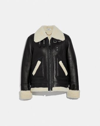 セール coach Shearling Aviator Jacket 38581