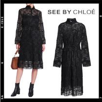 SALE【See by Chloe】pleated lace shirt dress