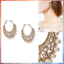 ピアス pearl embellished hoop earrings