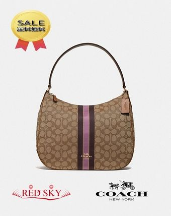 4c664e9c8a04 Coach ショルダーバッグ・ポシェット Coach 「Zip shoulder bag in signature jacquard with  stripe」 ...