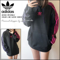 国内発送★ADIDAS ORIGINALS★2COLOR LINE SLEEVE HOODIE 黒