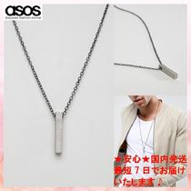 【ASOS】ネックレス Icon Brand bar pendant necklace in silver