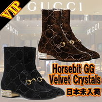 ◆◆VIP◆◆ GUCCI  Horsebit GG velvet boot with crystals