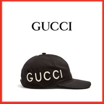 GUCCI(グッチ)Logo-embroidered cotton-canvas cap ブラック