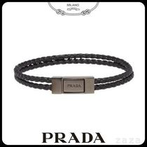 PRADAプラダ 2IB184 BRAIDED LEATHER WRIST STRAP