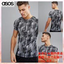 ASOS(エイソス) メンズ・トップス 【ASOS】Tシャツ 4505 muscle t-shirt with all over geo print