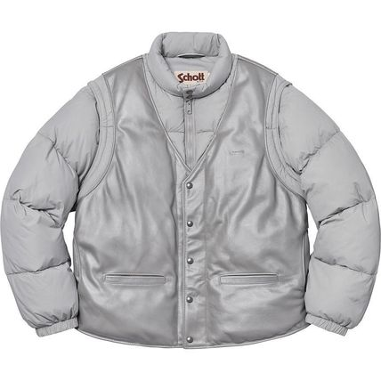 Supreme アウターその他 18 WEEK Supreme FW 18 Schott Down Leather Vest Puffy Jacket(3)