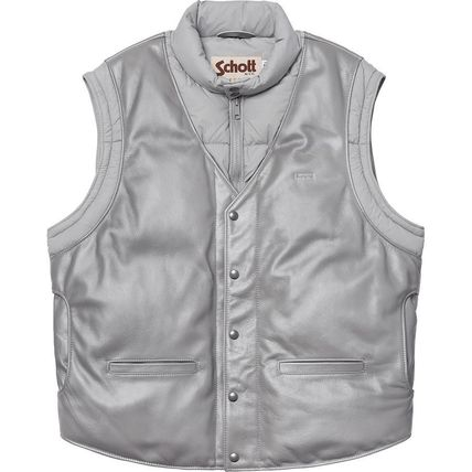 Supreme アウターその他 18 WEEK Supreme FW 18 Schott Down Leather Vest Puffy Jacket(4)
