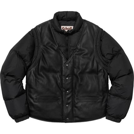 Supreme アウターその他 18 WEEK Supreme FW 18 Schott Down Leather Vest Puffy Jacket(5)