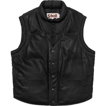 Supreme アウターその他 18 WEEK Supreme FW 18 Schott Down Leather Vest Puffy Jacket(6)