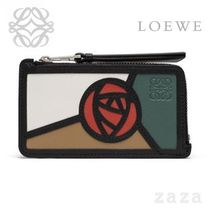 LOEWE★ロエベ Puzzle Coin/Card Holder Roses Mocca/Multicolor