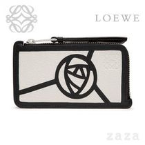LOEWE★ロエベ Puzzle Coin/Card Holder Roses White/Black
