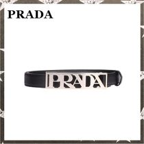 PRADA / LOGO BUCKLE LETHER BELT ブラック【関税・送料込】