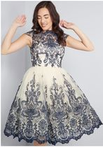 chi chi london exquisite elegance lace dress in navy