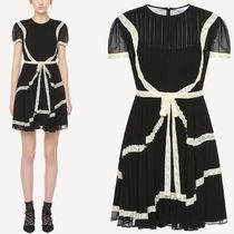 18-19AW RV136 LACE RIBBON EMBELLISHED GEORGETTE DRESS