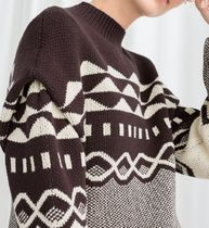"""""""& Other Stories"""" Graphic Cotton Knit Sweater Brown"""