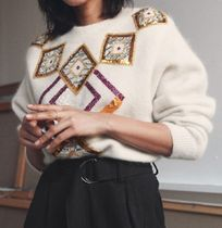 """""""& Other Stories"""" Embellished Cropped Sweater Cream"""