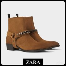 ☆ Men's ZARA☆ LEATHER BOOTS WITH CHAIN DETAIL