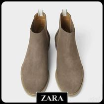 ☆ Men's ZARA☆ GREY LEATHER SPORTY ANKLE BOOTS