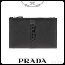 PRADAプラダ 2NG005 SAFFIANO AND CROCODILE LEATHER 便利な財布