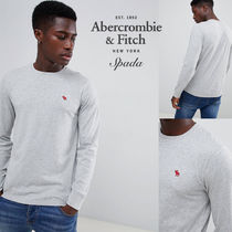 SALE【A&F】長袖 ロゴ トップス グレー / 送料無料