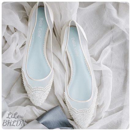 BHLDN ウェディングシューズ BHLDN取扱いBella Belle★BEADED IVORY FLATS FOR WEDDING