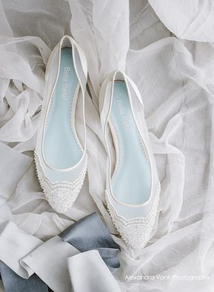 BHLDN ウェディングシューズ BHLDN取扱いBella Belle★BEADED IVORY FLATS FOR WEDDING(2)