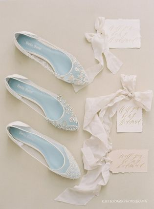 BHLDN ウェディングシューズ BHLDN取扱いBella Belle★BEADED IVORY FLATS FOR WEDDING(4)
