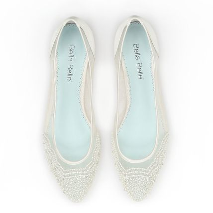 BHLDN ウェディングシューズ BHLDN取扱いBella Belle★BEADED IVORY FLATS FOR WEDDING(5)