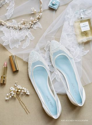 BHLDN ウェディングシューズ BHLDN取扱いBella Belle★BEADED IVORY FLATS FOR WEDDING(7)
