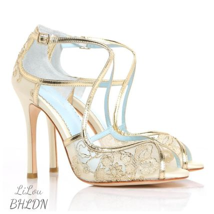 BHLDN ウェディングシューズ BHLDN取扱いBella Belle★EMBROIDERED GOLD LACE WEDDING SHOES