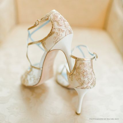 BHLDN ウェディングシューズ BHLDN取扱いBella Belle★EMBROIDERED GOLD LACE WEDDING SHOES(5)
