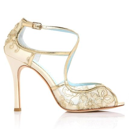 BHLDN ウェディングシューズ BHLDN取扱いBella Belle★EMBROIDERED GOLD LACE WEDDING SHOES(7)