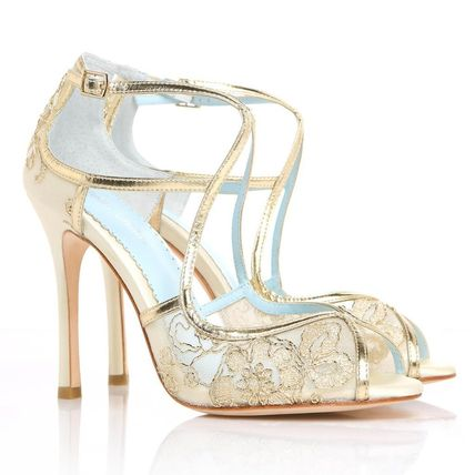 BHLDN ウェディングシューズ BHLDN取扱いBella Belle★EMBROIDERED GOLD LACE WEDDING SHOES(9)